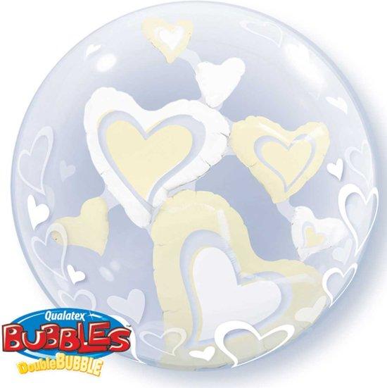 Zilveren Hartjes Bubbles Ballon 61cm