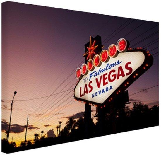 Verlicht Las Vegas welkomsbord Canvas 60x40 cm - Foto print op Canvas schilderij (Wanddecoratie)