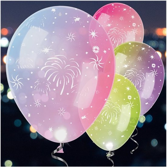 bol.com | Balloominate Ballonnen Met Led-verlichting Firework 28 Cm ...