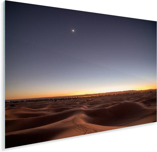 Schemering boven de woestijn Erg Chebbi in Marokko Plexiglas 160x120 cm - Foto print op Glas (Plexiglas wanddecoratie) XXL / Groot formaat!