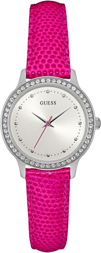 GUESS Watches Dames Horloge W0648L15 - leer - roze - Ø 30 mm