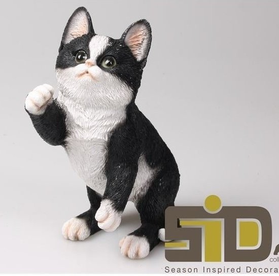 Betere bol.com | Dierenbeelden poes/kat zwart/wit - Decoratie beeldje OG-15