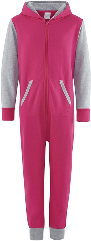 Onesie Contrast all-in-one  KLEUR Hot Pink / Heather Grey Maat XS