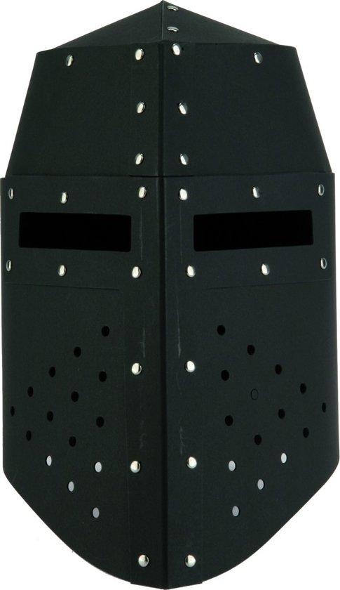 Gevechtshelm van zwart karton voor kinderen - Verkleedhoofddeksel - One size