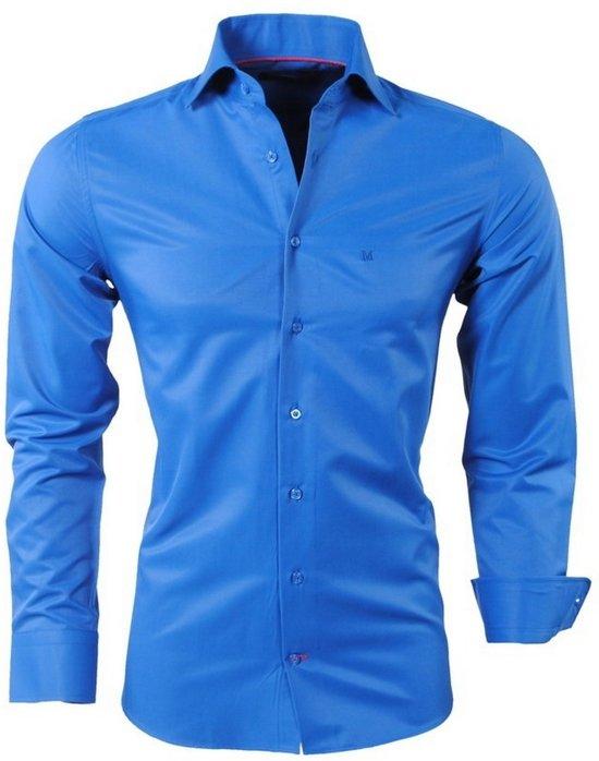 Heren Overhemd Blauw.Bol Com Montazinni Heren Overhemd Slim Fit Blauw
