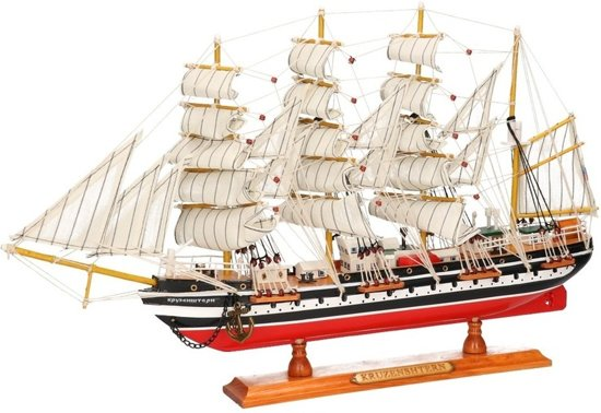 Decoratie zeilboot kruzenshtern 50 cm model schip for Decoratie zeilboot