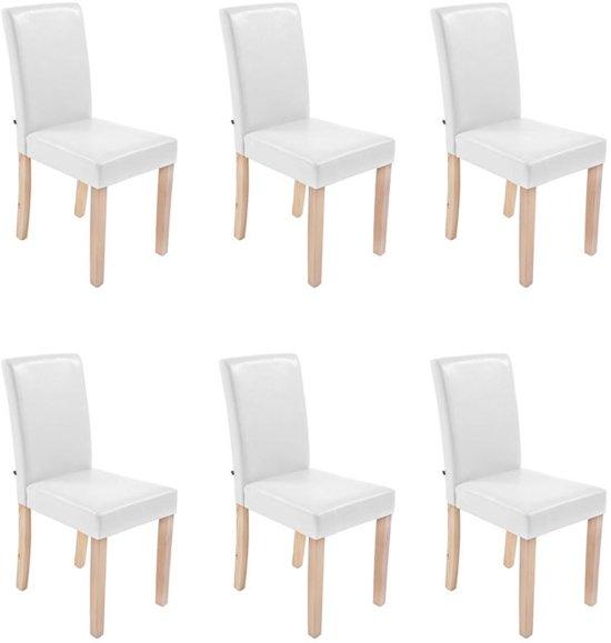6 Eetkamer Stoelen Wit.Clp Ina Set Van 6 Eetkamerstoelen Kunstleer Wit