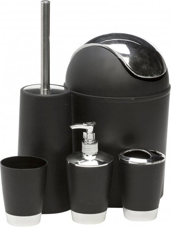 bol.com | Badkamer en toiletset zwart 5 delig - accessoires set