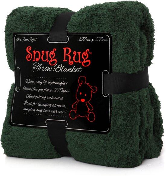 Snug Rug Sherpa - Plaid - Extra Dik - Racing Green / Groen - Premium Throw Deken - TV Deken - Knuffeldeken - Woondeken - Fleece Deken