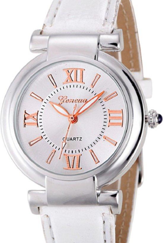 Horloge- Dames en Tieners- Wit- 35 mm- Geneva-GRATIS batterij