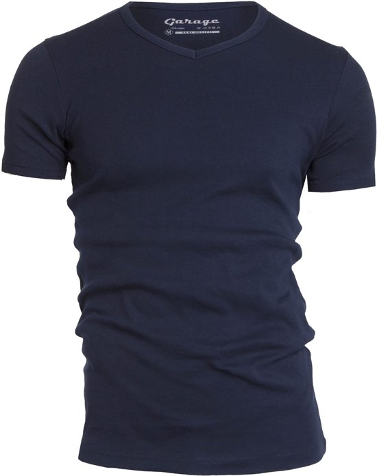 Garage 302 - T-shirt V-neck semi bodyfit grey melange S 100% cotton 1x1 rib