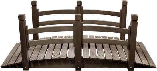 Maxx houten brug voor vijver met leuning for Hout voor vijver