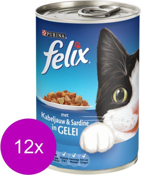 FELIX Blik Met Gelei - Kabeljauw en Sardine - Kattenvoer - 12 x 400 gr