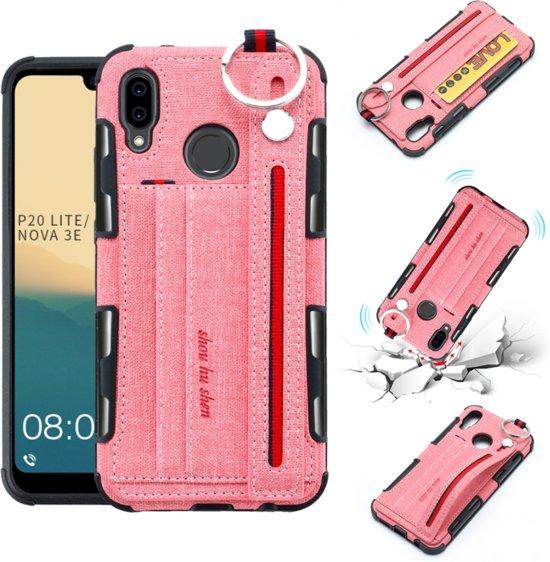 Let op type!! Voor Huawei P20 Lite doek textuur + TPU schokbestendige beschermhoes met metalen ring & houder & kaartsleuven & hangende riem (roze)