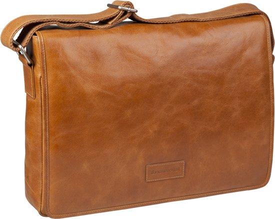 "Leather messenger bag Marselisborg - tan - voor up to 14"""