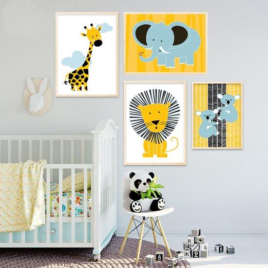 Postercity - Design Canvas Poster Giraffe met Wolkjes / Kinderkamer / Muurdecoratie / 40 x 30cm / A3