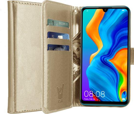 iCall - Huawei P30 Lite Hoesje - Lederen TPU Book Case Portemonnee Flip Wallet - Goud