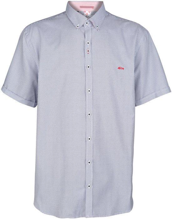 GROTE MAAT : Dario Beltran Overhemd korte mouw Belem blauw wit geblokt MAAT 5XL