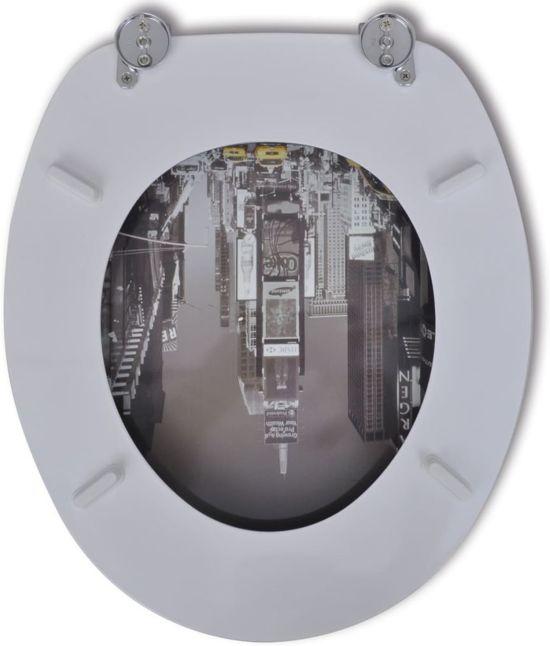 vidaXL Toiletbril van MDF met New York dessin