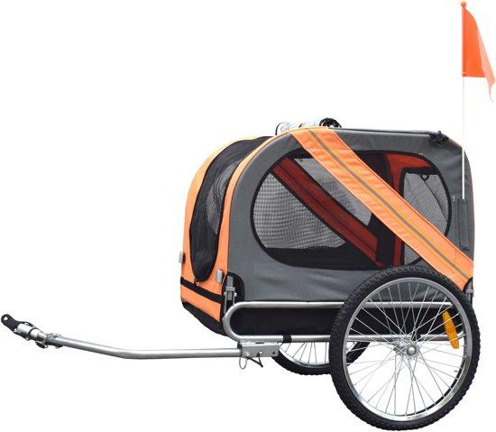 Duvo+ - Hondenfietskar - Grijs/oranje