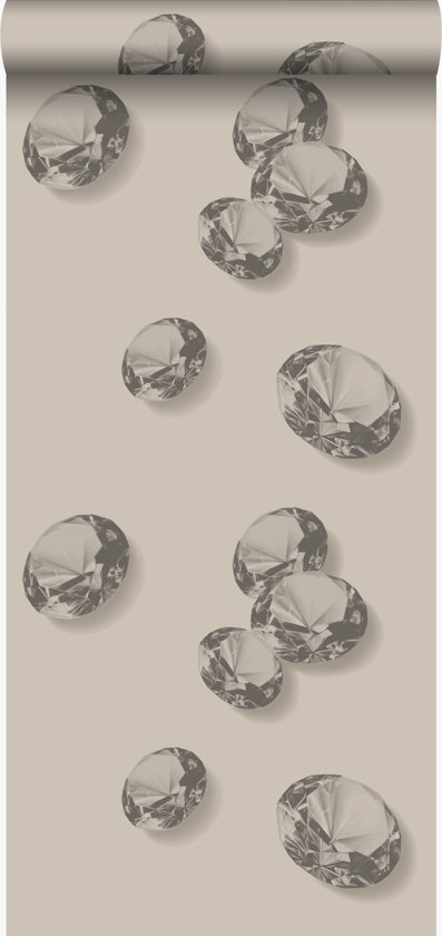 zijdedruk vlies behang diamanten grijs en zwart - 326334 Originwallcoverings.com