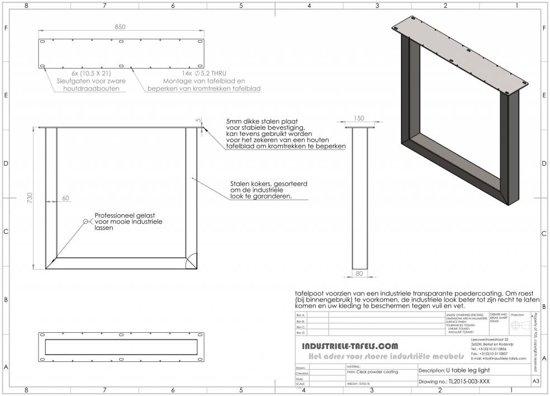 Geliefde bol.com   Handgemaakte industriele tafelpoten, model U Standaard #ZM92
