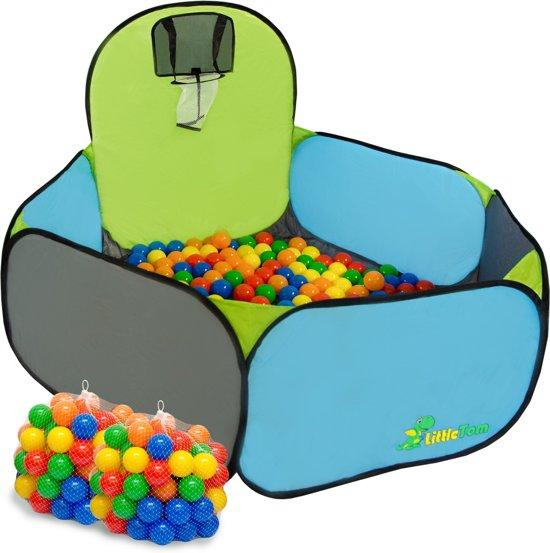 LittleTom Basketball Ballenbak met 200 Babyballen - 120 x 100 x 40 cm - Ballenbad Set in Blauw & Groen - Ø 5,5 cm Ballen - Multicolor Mix