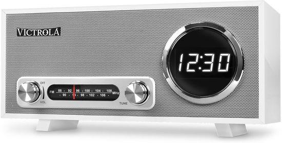 Victrola VC-100 Retro Radio Wekker Bluetooth Wit
