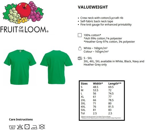 Of shirt Ronde Hals RoyalS Fruit Pack Valueweight T The 5 Loom 7yv6Ybfg