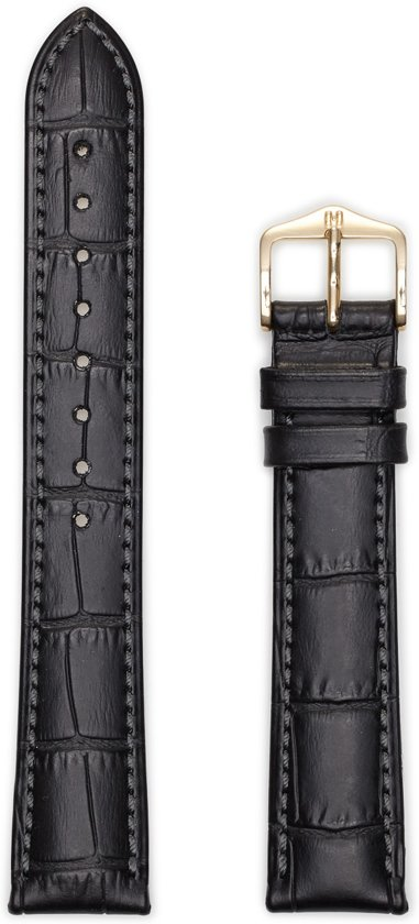 Hirsh Horlogeband -  Duke Zwart - Leer - 20mm