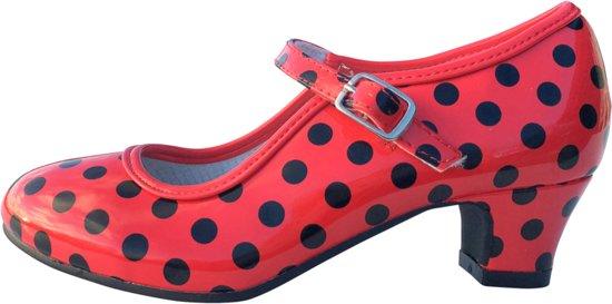 Spaanse schoenen rood zwart glossy maat 41 (binnenmaat 26 cm) bij jurk