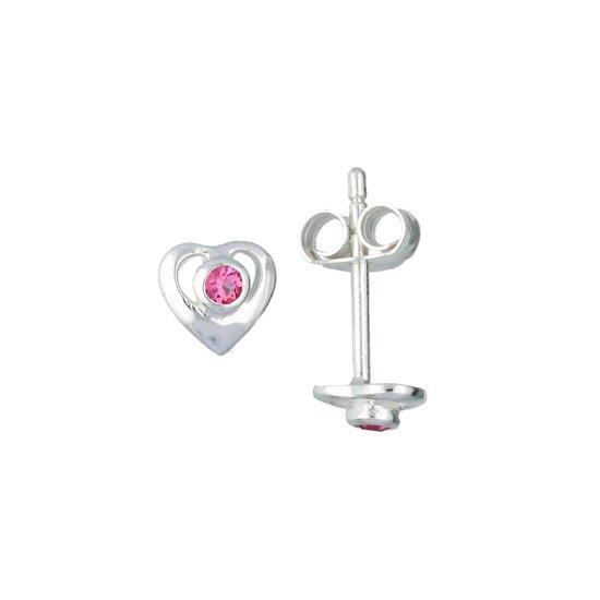 Lilly oorknopjes opengewerkt hart - zilver - zirkonia - roze