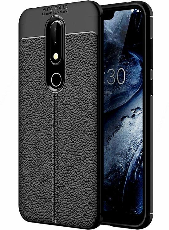 DrPhone Nokia 6.1 (2018) TPU Siliconen Autofocus Hoesje - Leren Achterkant Textuur [Valbescherming /