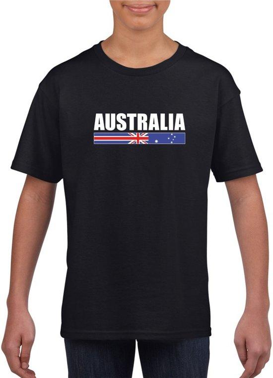 Zwart Australie supporter t-shirt voor jongens en meisjes - Australische vlag shirts L (146-152)