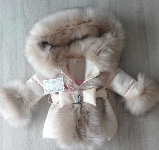 BamBella Bontkraag Creme winterjas met imitatie bont