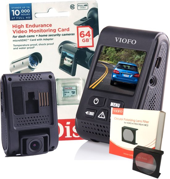 Viofo dashcam A119 - Bundel met GPS, CPL-filter, 64Gb Sandisk High Endurance card en Nederlandse handleiding