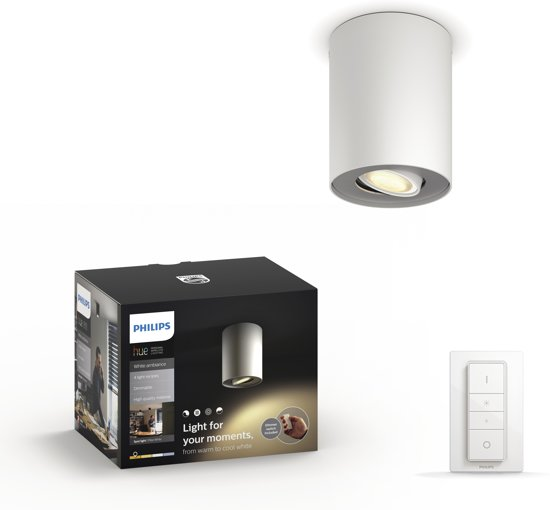 Philips Hue Pillar - White Ambiance - Opbouwspot - 1 lichtpunt - incl DIM switch - Wit