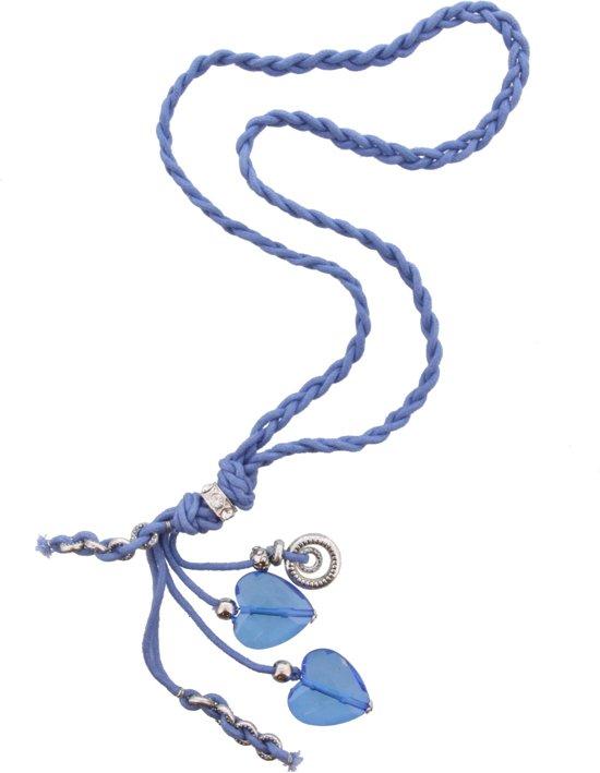 Lange ketting van blauw gevlochten touw
