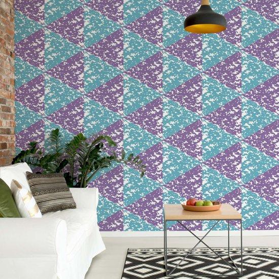 Fotobehang Modern Geometric Triangle Pattern Pink Blue   V8 - 368cm x 254cm   130gr/m2 Vlies
