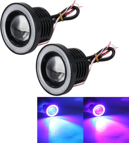 2 STKS Universele 3 Inch LED Mist Angel Eyes R500 Hoge Intensiteit LED Lampen Auto Mistlamp Halo Angel Eyes Rings Mistlamp IP65 Waterdicht 900LM 10W 6000K Auto Mistlampen met Afstandsbediening, DC 12V