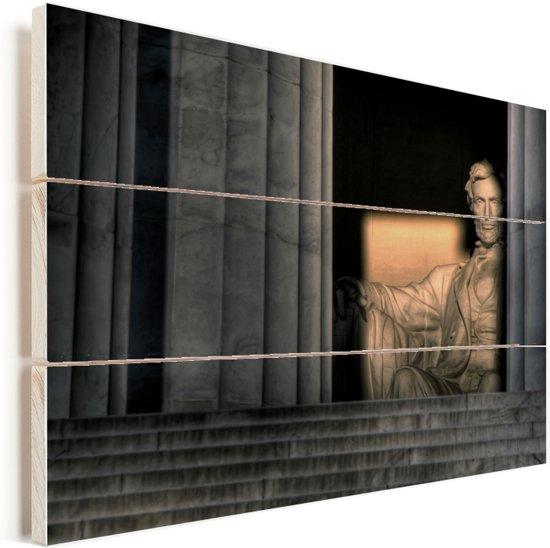 Ondergaande zon bij het Lincoln Memorial in Washington Vurenhout met planken 40x30 cm - klein - Foto print op Hout (Wanddecoratie)