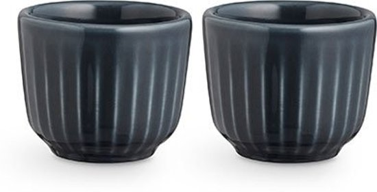 Kähler Design Hammershøi Eierdopjes - Set van 2 Stuks - Ø 5 cm - Antraciet