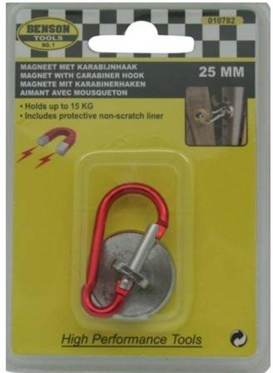 Magneet met Karabijnhaak - Karabiner - Musketon - Magnetisch - Magneet - 25mm - 15kg