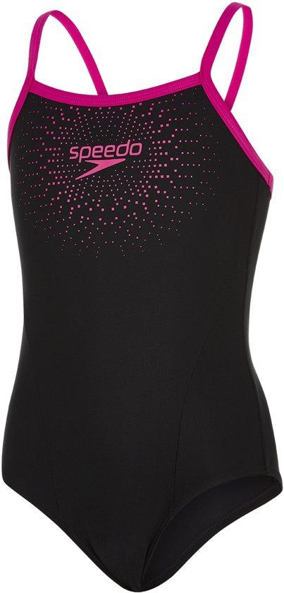 35286baf609642 bol.com   Speedo Gala Logo Muscleback Meisjes Badpak - Zwart-Roze ...