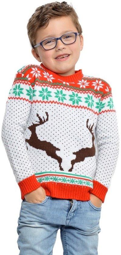 Witte Kersttrui.Bol Com Witte Kerst Trui Met Rendieren Voor Kinderen 5 6 Jaar 116