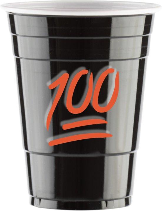 """50 Black Cups met """"100 Emoji"""" Design - 500ml Zwarte Party Bekers dubbelzijdig bedrukt - Original Beer Pong"""