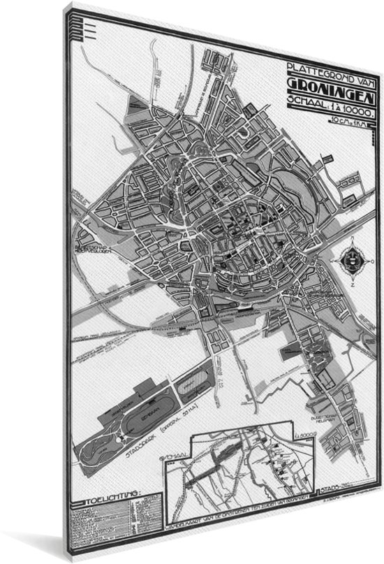 Zwart witte en historische plattegrond van Groningen Canvas 60x90 cm - Foto print op Canvas schilderij (Wanddecoratie woonkamer / slaapkamer)