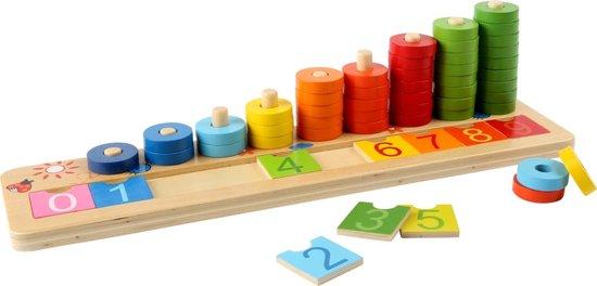 Afbeelding van Houten telraam rekenen - Leer tellen met houten ringen - houten speelgoed vanaf 4 jaar speelgoed