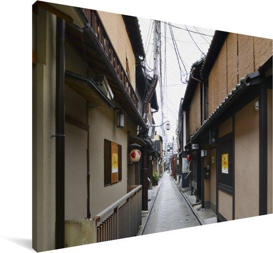 Smalle straatjes in de oude wijk van Kioto in Japan Canvas 120x80 cm - Foto print op Canvas schilderij (Wanddecoratie woonkamer / slaapkamer) / Aziatische steden Canvas Schilderijen