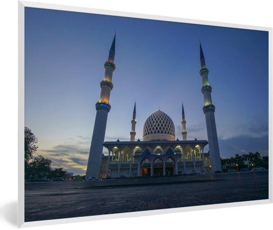 Foto in lijst - De staatsmoskee in de Abrahamvallei bij Mekka fotolijst wit 60x40 cm - Poster in lijst (Wanddecoratie woonkamer / slaapkamer)